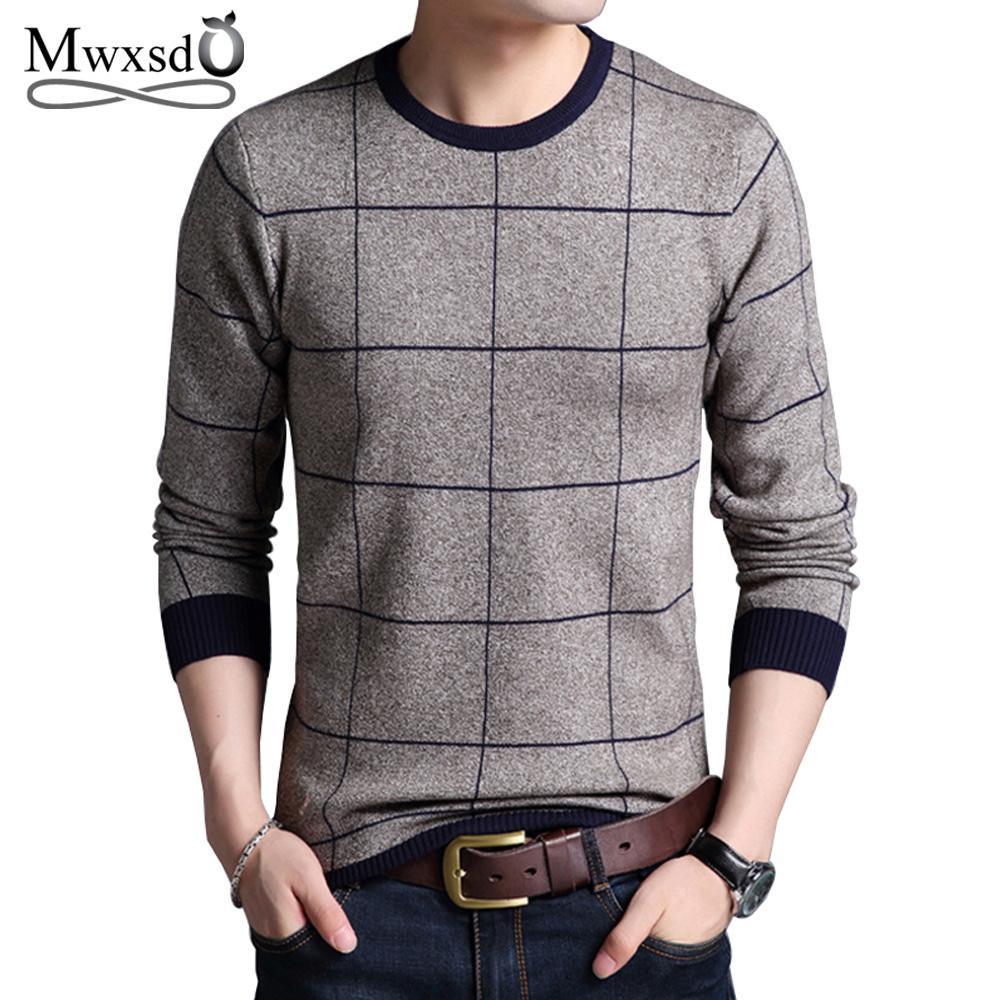 l'ultimo 88c29 e6446 Maglioni pullover maglioni a quadri scozzesi autunno inverno Mwxsd degli  uomini di marca patchwork maglione lavorato a maglia per gli uomini o-collo  ...