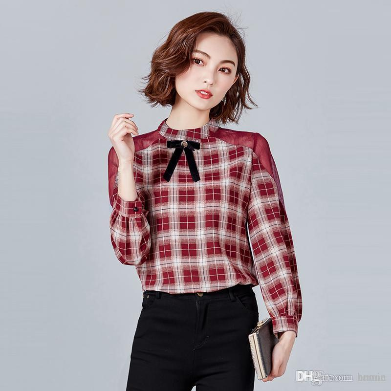 Dioufond Long Sleeve Plaid Blouses Bow Stand Women Tops Lace Patchwork Blusas  Femininas Vintage Fashion Lady Clothing Spring New Blouses   Shirts Cheap  ... 46c0be73c549