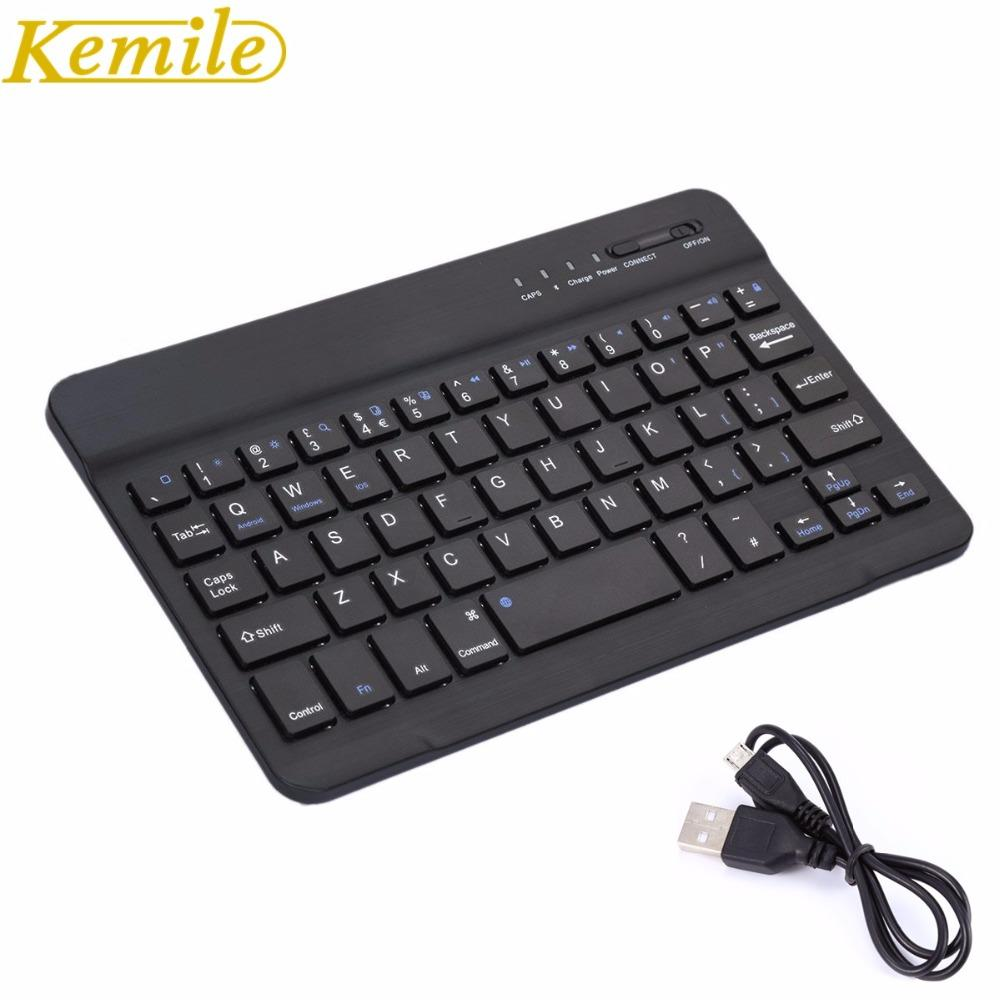 d74cb7ed9 Kemile Ultra Slim Portable Wireless Bluetooth Aluminium Keyboard With Micro  Charging Port For IOS Android Tablet Windows PC Backlit Keyboard Backlit ...