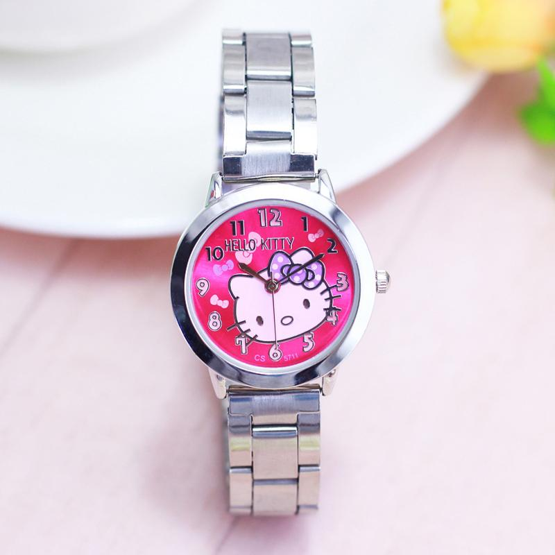 5bf388c6b 2018 New HelloKitty Girls Young Women Quartz Wristwatches Ladies Lovely  Bowknot Cat Stainless Steel Bracelet Electric Watches Cheap Branded Watches  Buy ...