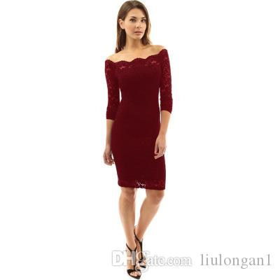 2018 Hot Sale New Arrive Sexy Women Dress Solid Straight Lace Women's Dresses Knee-Length Regular Sleeve Slash Neck Ladies Clothes