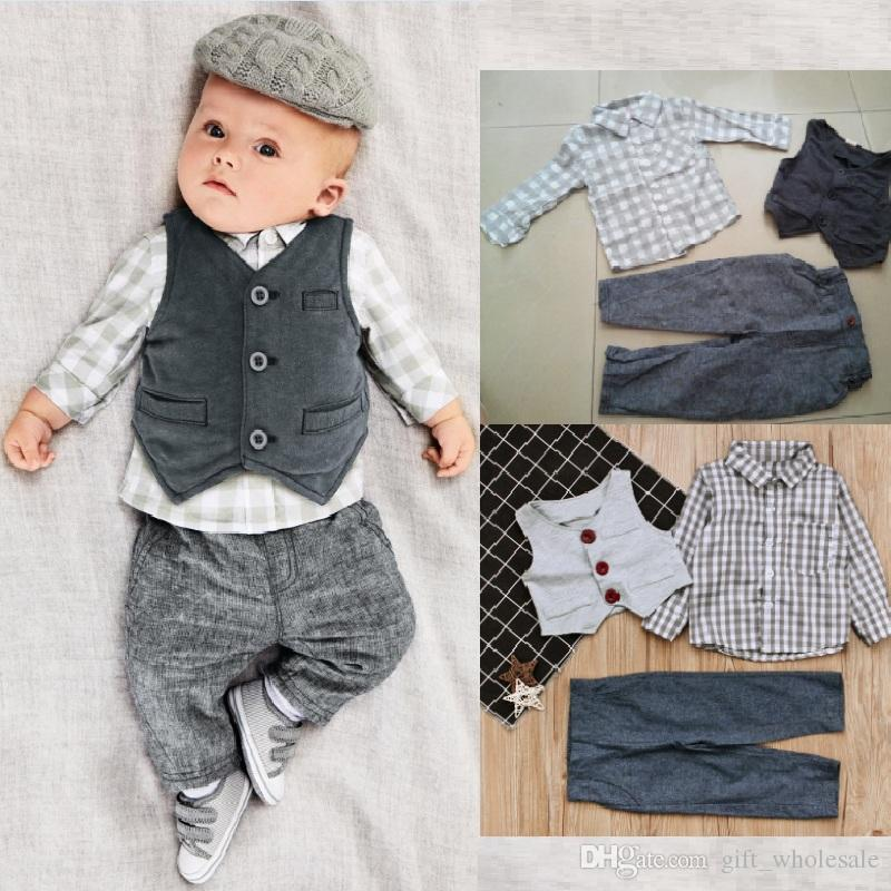 2018 Baby Boys Suits European Style Fashion Shirt+Vest +pants Plaid Suits Children Boys outfits Sets Infant Cotton Suit babies clothes