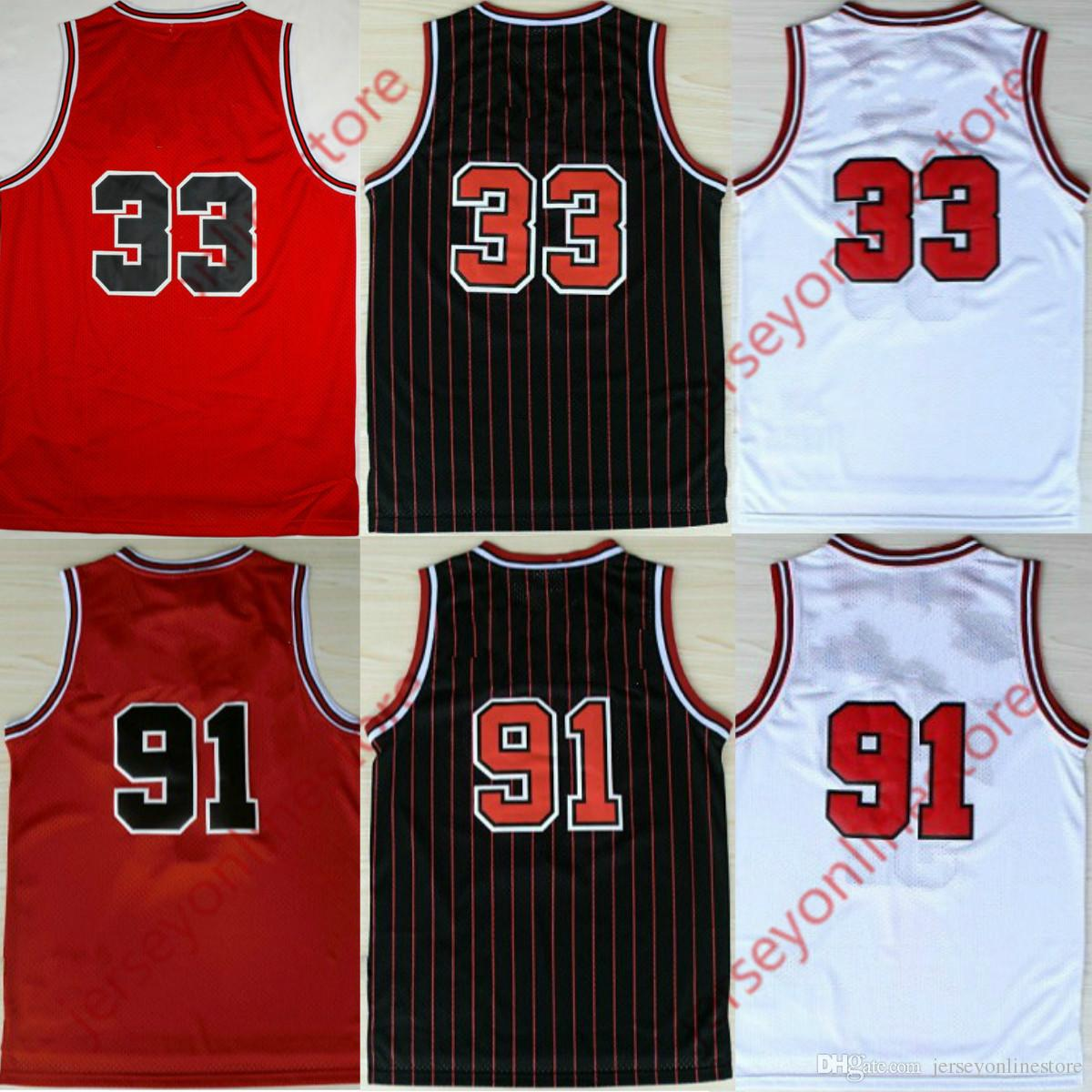 64fd2deae ... best price 2018 top quality cheap mens retro 33 pippen 91 rodman jersey  white red black