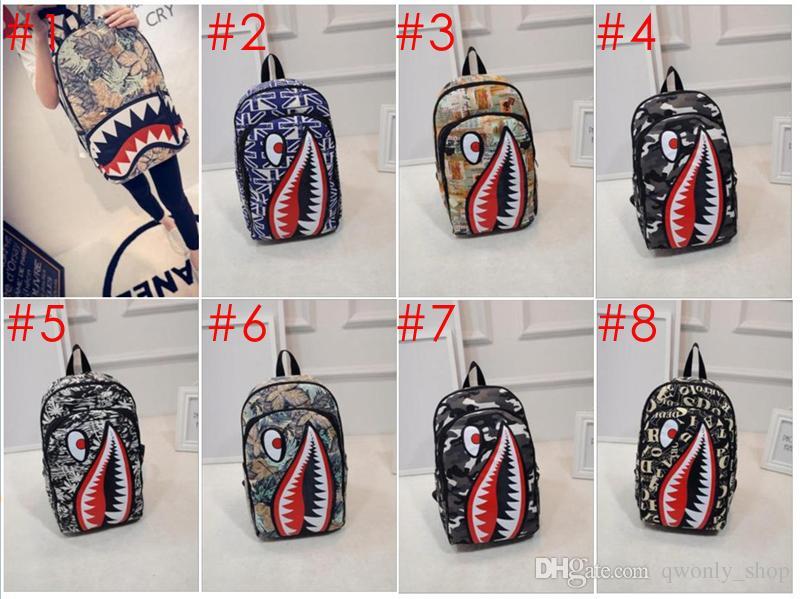 Graffiti Anime Shark Mochila de impresión para adolescente niña, niña, hombres, mochilas escolares, bolsa de ordenador portátil fresca, mochila de viaje
