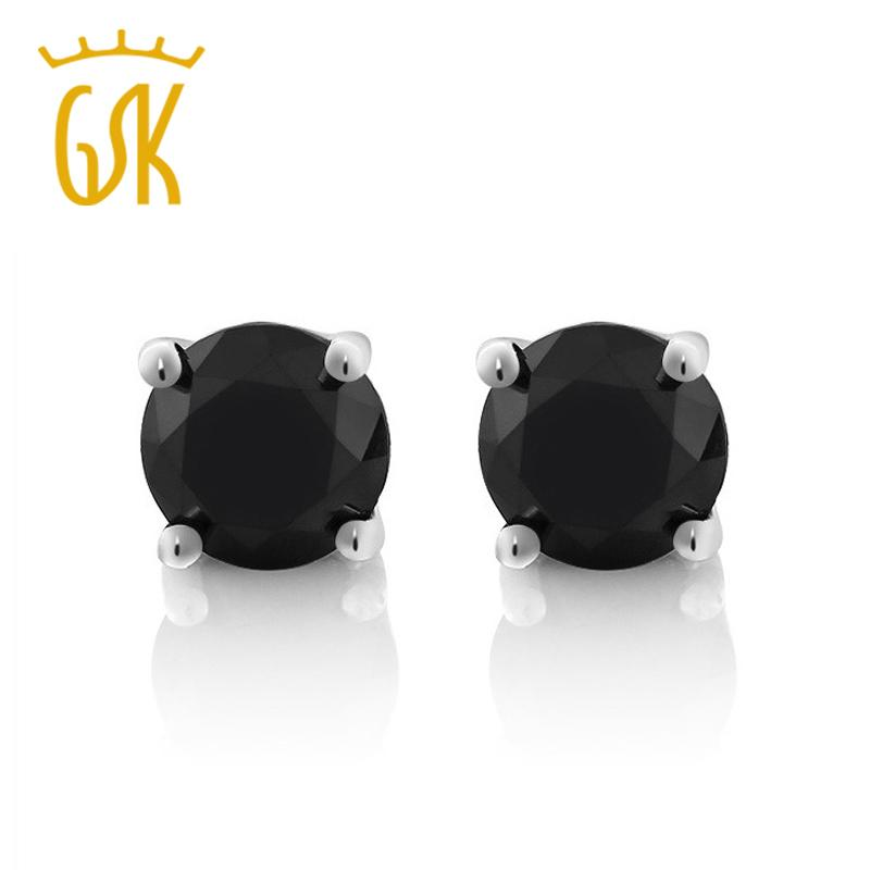 55a7c4b98 2019 GemStoneKing Diamond Jewelry Solid 14K White Gold Jewelry 0.75ctw  Round Natural Black Diamond Stud Earrings For Women Men S923 From Ruiqi08,  ...