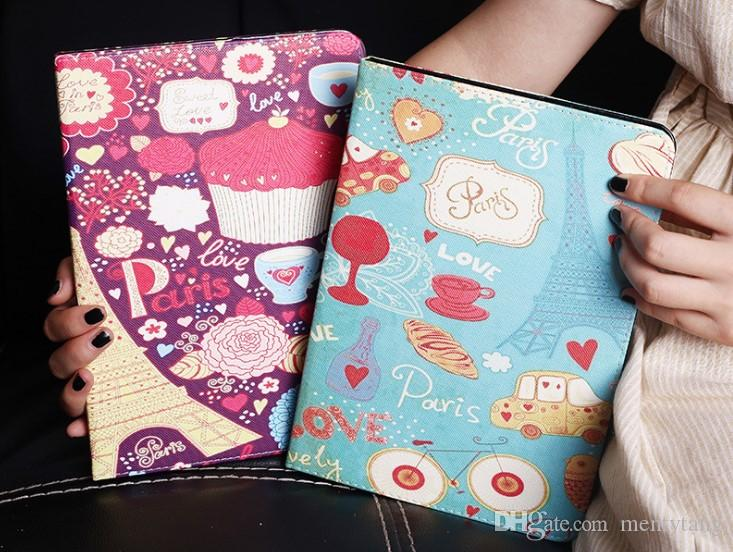 Case For Apple iPad Mini 123 Tablet Cove Painted Flip Stand Wallet PU Leather Protective Cover For ipad AIR Shell Tablet Case