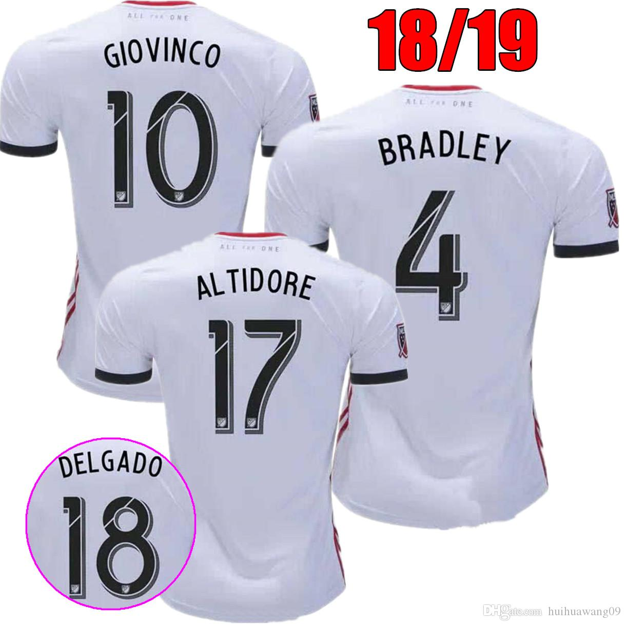 8f9f6615ab5 2019 2018 2019 Toronto Away Soccer Jersey 18/19 #10 GIOVINCO #4 BRADLEY 17  ALTIDORE White Soccer Shirt Customized MLS Kit Football Uniform Shirts From  ...