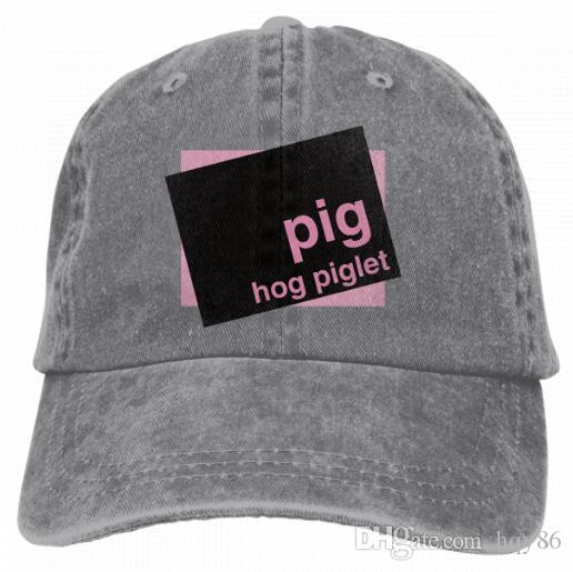 16718d8afcc Pig Hog Piglet Vintage Classic Unisex Baseball Cap Adjustable Washed Dyed  Cotton Ball Hat Multi Color Optional 4328214 Make Your Own Hat Basecaps  From Hqy86 ...