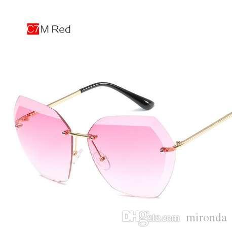 e4c5dd9e8754 UVLAIK Rimless Sunglasses Women Metal Frame Frameless Oversized Sun Glasses  Brand Designer Eyeglasses Luxury Eyewears Sunglasses Hut Reading Glasses  From ...
