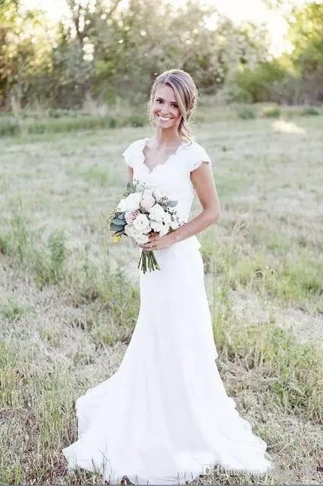 Modest 2020 país lace sereia vestidos de casamento sexy v neck cap manga boho vestidos de casamento de praia vestidos de noiva botão de volta vestido de noiva
