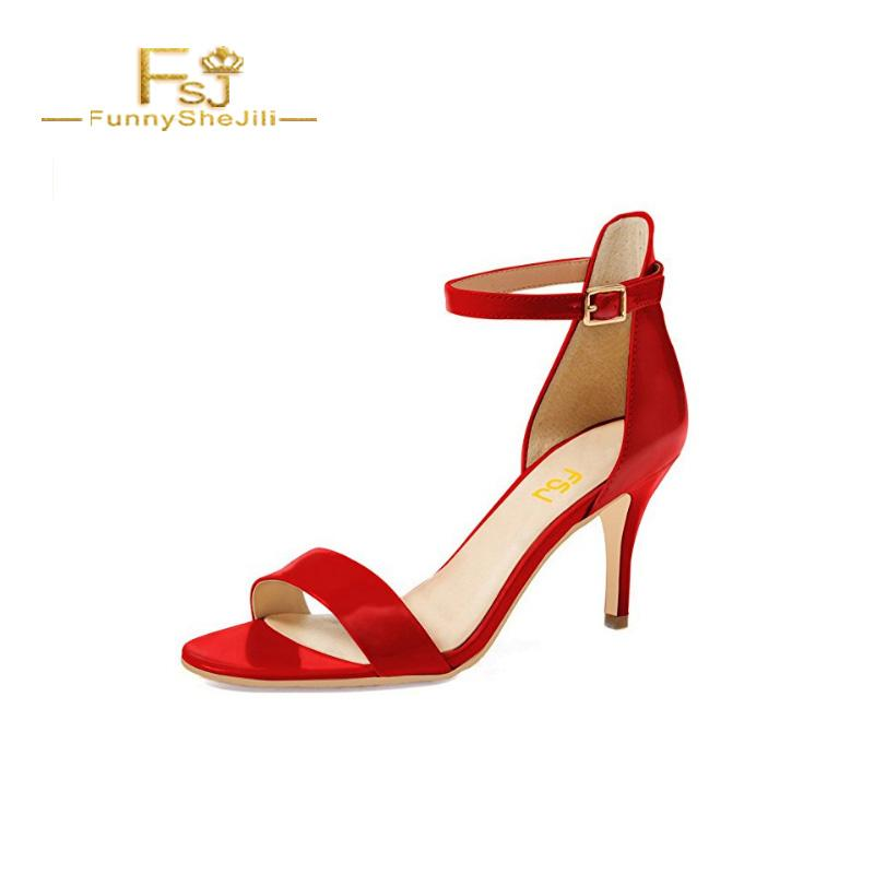 e26720f2b64 FSJ Women Comfy Open Pointed Toe Buckle Red Sexy Summer Sandals Ankle Strap  Kitten Mid Heels Shoes Patent Leather Size 15 US Summer Shoes Purple Shoes  From ...