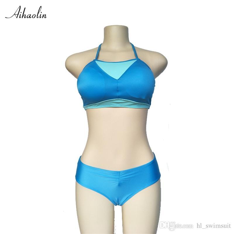33807240bfaf0 AIHAOLIN Solid Sport Swimsuit Women Two Pieces Swimwear Woman Push ...