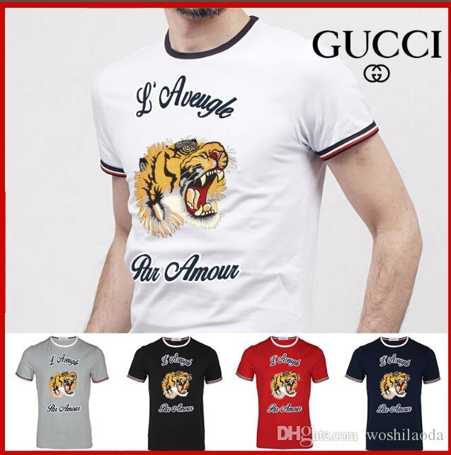 f0561b24227 2019 2018 Hot Summer Designer T Shirts For Men Tops Tiger Head Letter Print  T Shirt Mens Clothing Brand Short Sleeve Tshirt Women Tops White S 3X From  ...