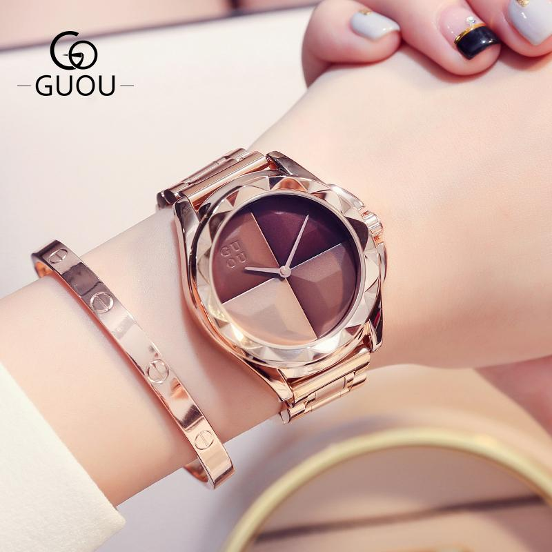 b77041520290 GUOU Watches Women Top Luxury Ladies Watch Blush Paragraph Tide Quartz  Watch Fashion Trend Stainless Steel Women Watch SaatY1883104 Online with   68.51 Piece ...