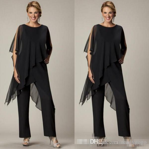 Newest Mother of the Bride Pant Sutis Black Chiffon Bateau Neck Asymmetrical Wrap Style Modest Mother's Suit for Weddings Custom Made