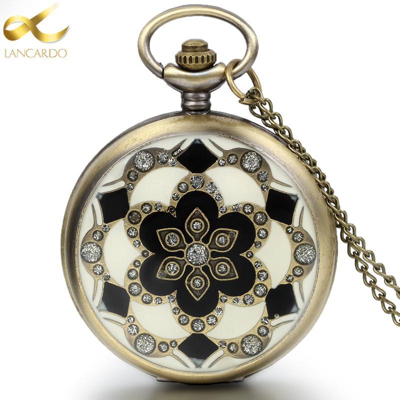 882d3f3c05a Compre Lancardo Moda Bronze Do Vintage Relógios De Bolso Colar Cadeia  Pingente De Flor De Quartzo Relógios De Bolso Mens Relogio De Bolso De  Ravishing