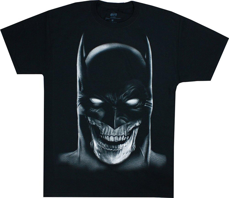 Batman Skull Face Airbrush Men s Black Shirt O-Neck Fashion Short ... 2912f5310