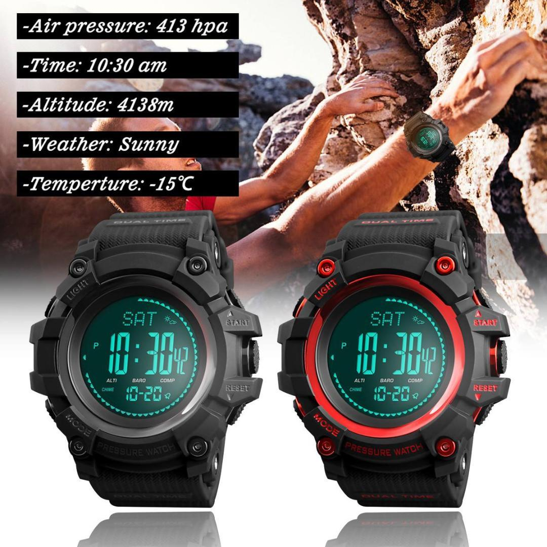 Altimeter Barometer Thermometer Altitude Men Digital Watches Sports Clock  Climbing Hiking Wristwatch 1358