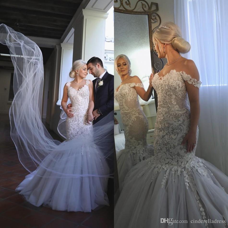 2018 Modest Plus Size Wedding Dresses Mermaid Off Shoulder Sweetheart Neck  Trumpet Bridal Gowns Sweep Train Tulle Lace Appliqued Short Bridal Dresses  Short ... c9df26d91be5