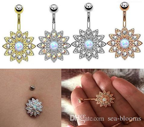 0cbeed9f41761a 2019 Sun Flower Petal Navel Piercing Silver Pink Crystal Belly Button Rings  Body Pircing Navel Piercing Jewelry G88L From Sea Blooms