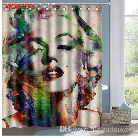 2019 WONZOM Marilyn Monroe Polyester Fabric Mermaid Shower Curtain Bathroom Decor Waterproof Cortina De Bano With 12 Hooks Gift From Trendshomes