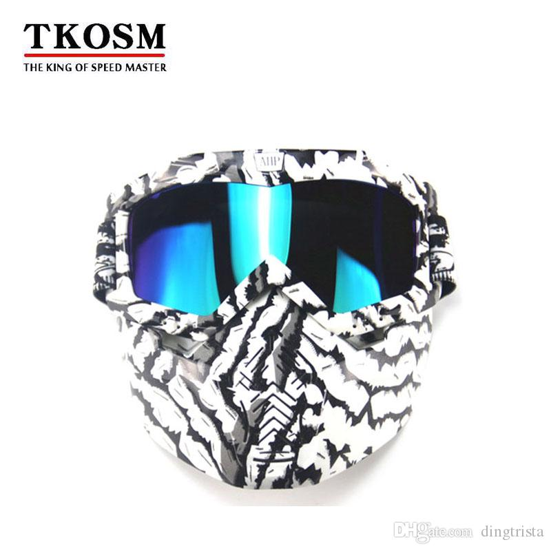 Modular Mask Detachable Goggles And Mouth Filter Face Motorcycle Half Helmet