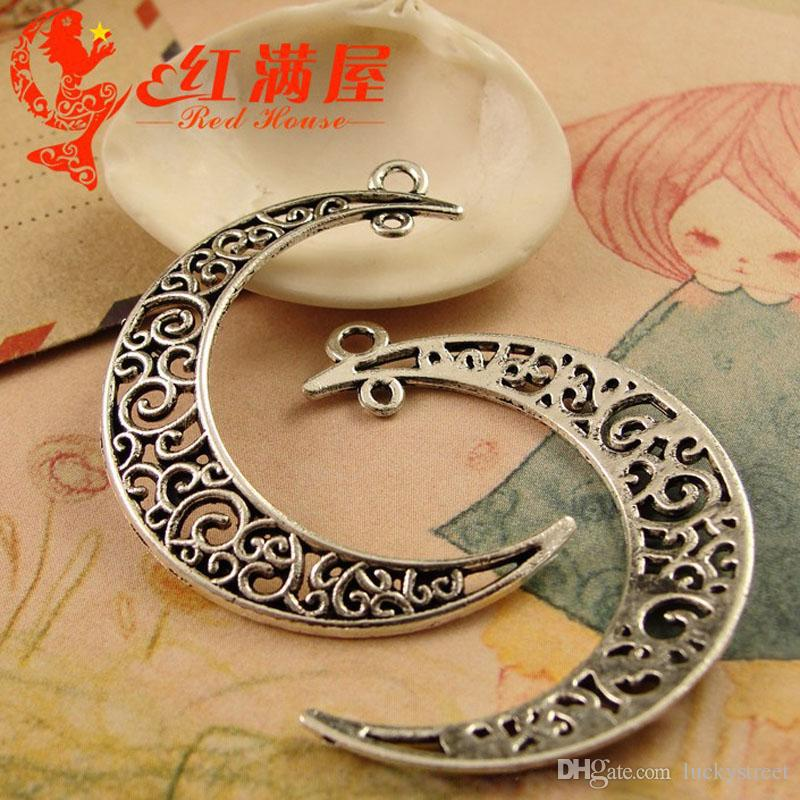 A3763 40*33MM Antique Bronze Moon charms Star Pendant jewelry accessories wholesale, vintage silver plated charm, gold tone charms