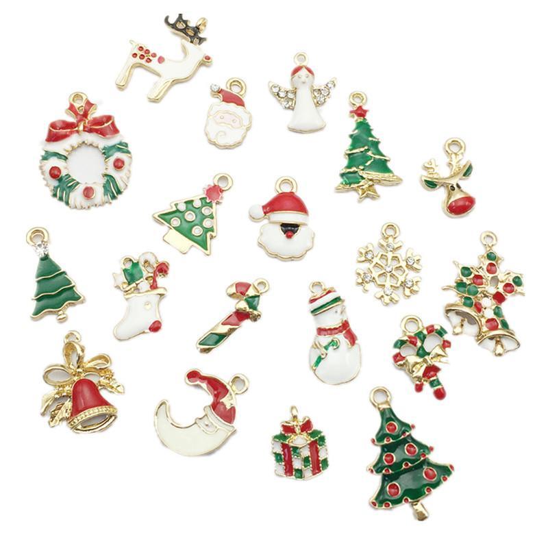 19pcs New Year Metal Alloy Christmas Charm Decor Set Xmas Pendant Drop Ornaments Hanging Christmas Decoration Navidad 2018