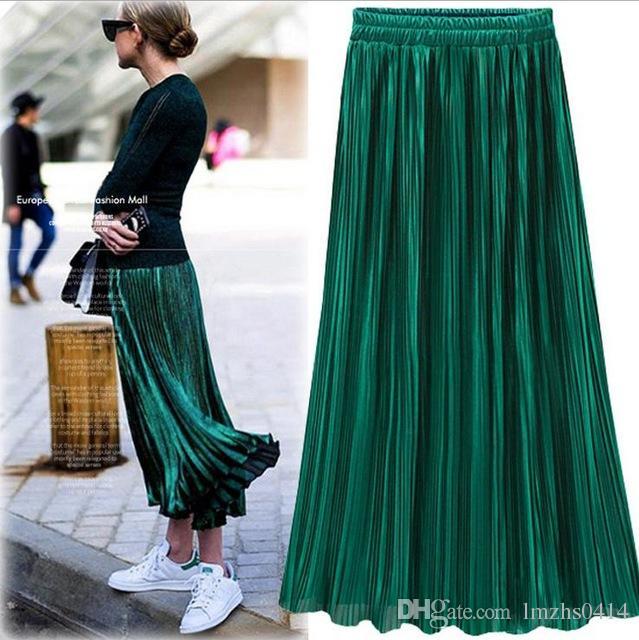 061ce9c9e Falda plisada de oro Falda de cintura alta vintage para mujer 2018 Faldas  largas de verano Falda metálica de nueva moda Mujer
