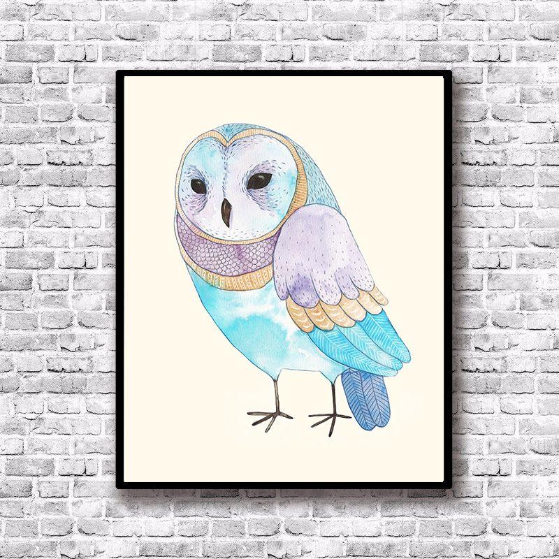 2019 Owl Art Canvas Posters Cartoon Bird Art Prints Nordic