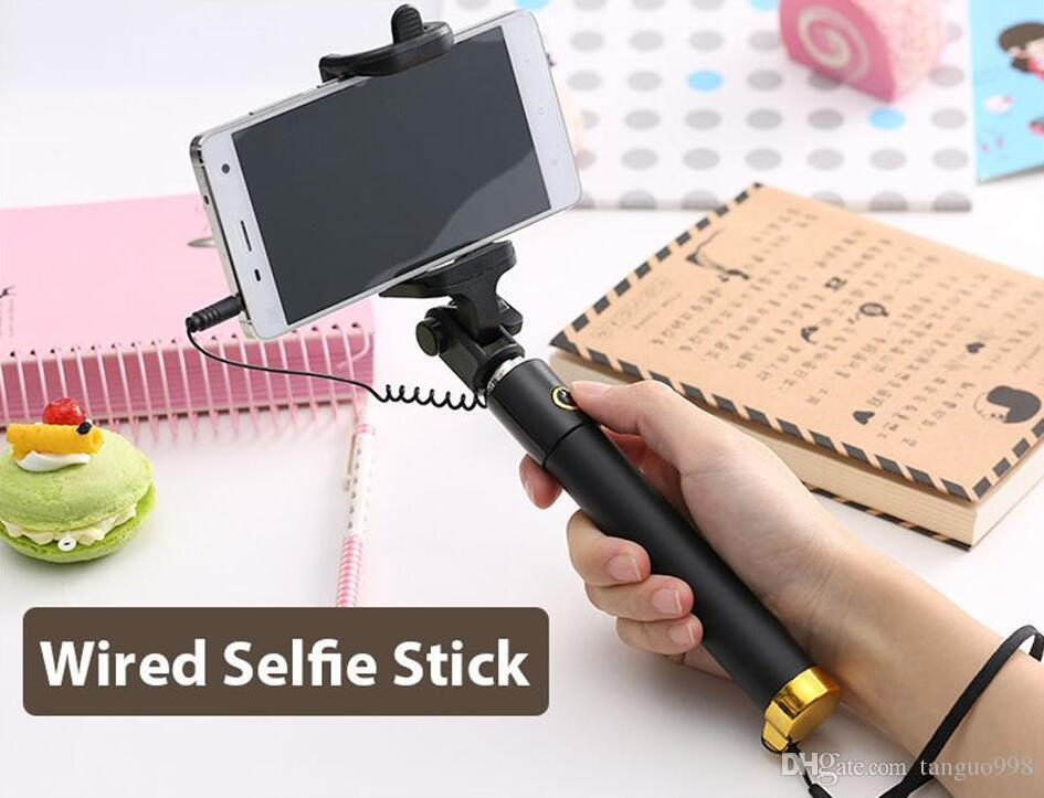 new Mini Selfie Stick With Button Wired Silicone Handle Monopod Universal For iPhone x 8 Android Samsung Sticks Foldable