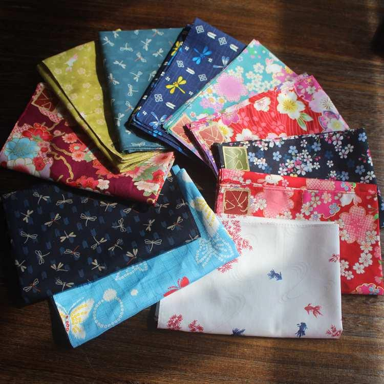 (6pcs /Lot )Japanese Style Furoshiki Handkerchief /100 %Cotton Printed 35cm Women Gilr Kids Handkerchief