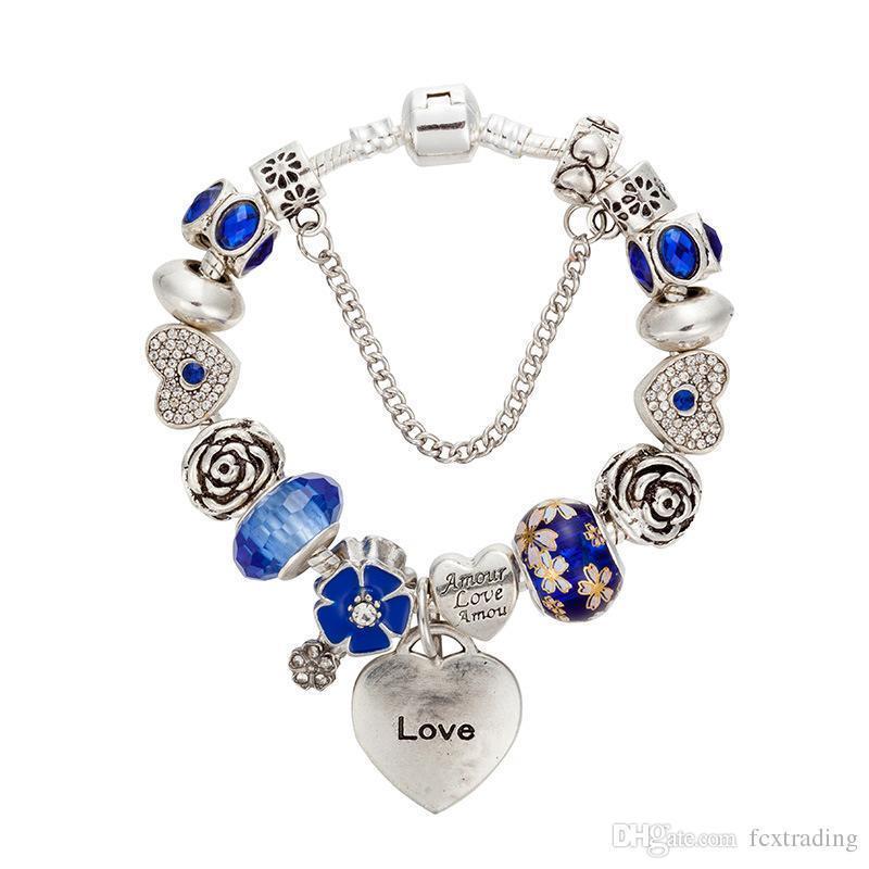 1a3a35f8c880 Compre 2017 Nueva Pulsera Del Encanto Pulseras Pandora De Plata Para Las  Mujeres Pulsera Del Corazón Azul Perlas De Chamilia Pulsera De La Flor Diy  Joyería ...