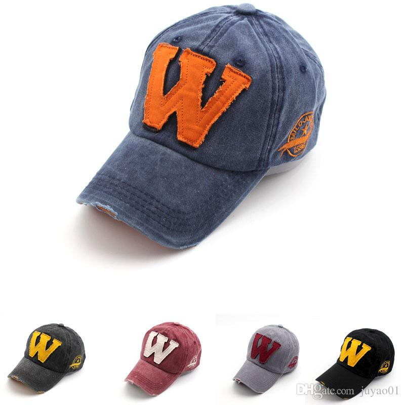 6f86b6972c9 Washed Denim Applique Letter W Duck Tongue Hat Autumn Winter New Men And  Women Baseball Cap Womens Baseball Hats Cheap Snapback Hats From Juyao01