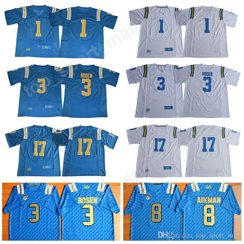 4c6edfde3 2019 NCAA UCLA Bruins Football Jerseys College Men 1 Soso Jamabo 3 Josh  Rosen 8 Troy Aikman 17 Christian Pabico Stitched Team Blue White PAC 12  From ...