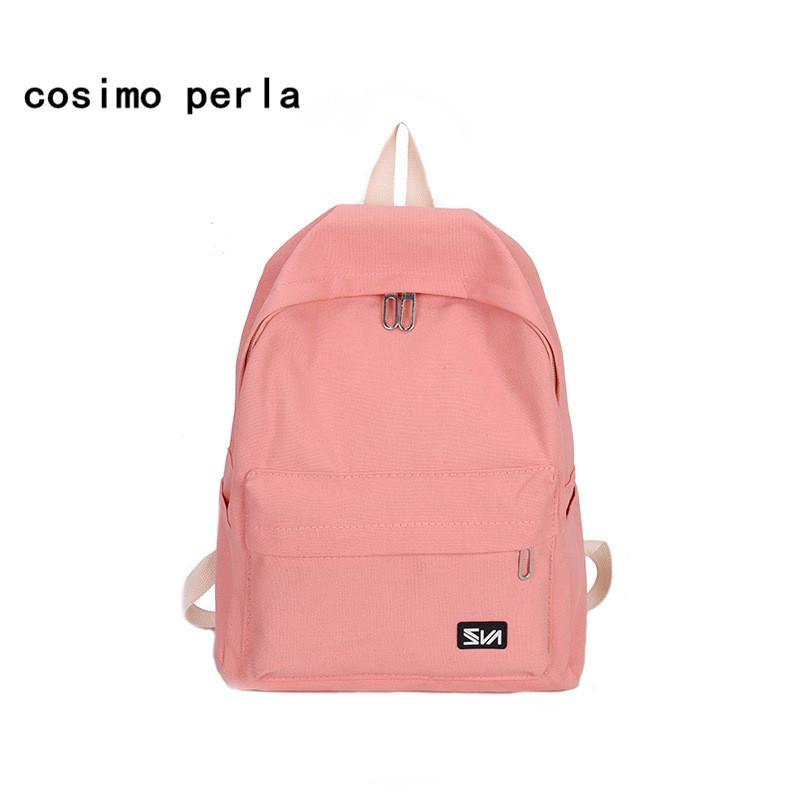 5fe5b8e3fd50 Cute Canvas School Bags Backpacks For Teenage Girls 2018 Korean Style Solid  Color Travel Leisure Laptop Rucksacks Ladies Backpacks For Men Jansport Big  ...