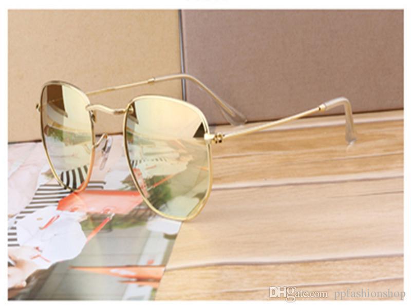 2018 Güneş Gözlüğü Kadın Erkek Marka Tasarımcı Metal Çerçeve Benzersiz Altıgen Düz lens Kaplama uv400 Güneş gözlükleri Gözlüğü Gözlük
