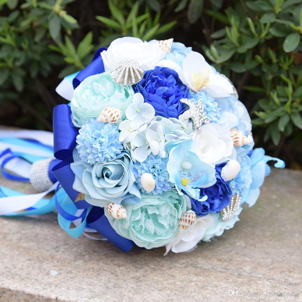 Summer Blue Bridal Bouquets High Quality Crystal Decoratins Fancy