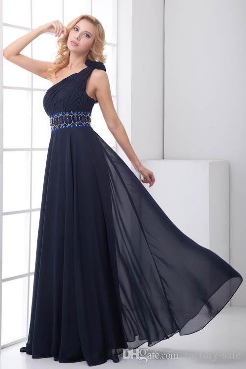 Navy Blue One Shoulder Beads Pleats Chiffon Cheap Long A Line Bridesmaid Dresses Formal Maid of Honor Dresses Wedding Guest Gowns ZPT202