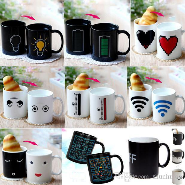 47124d7d188 Ceramic mug color changing mug milk coffer cup bone china heat sensitive  mug 75 degree cup 330ml gift couple cups 12 graphics