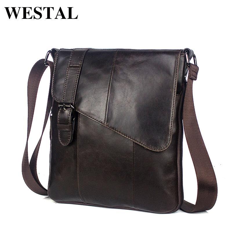 c75f4382c83a1 WESTAL Men Leather Messenger Bag Men S Shoulder Bag Genuine Leather Men S  Small Casual Flap Male Crossbody Bags For Men 8240 S914 Purses Designer  Handbags ...
