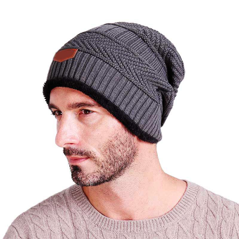 Men s Winter Hat Knitted Black Gray Hats Cap Thick And Warm And Bonnet  Cotton Skullies Beanie Soft Knitted Beanies for Male Skullies   Beanies  Cheap ... 01155de0cef0