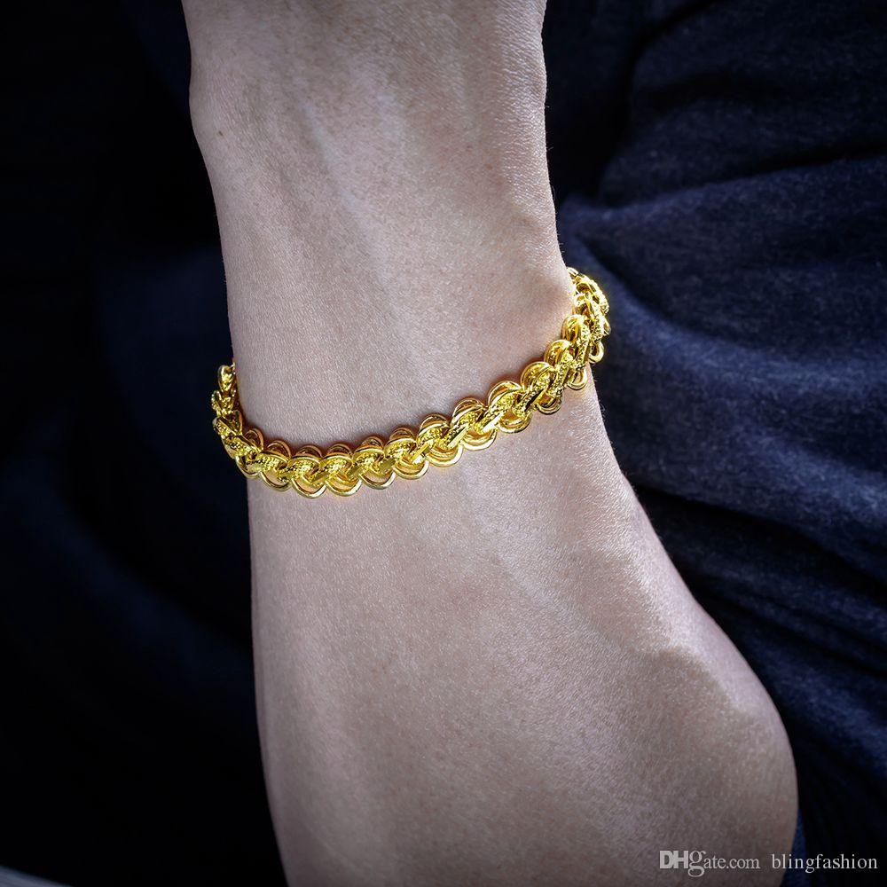 8.8 Inches Long Solid Bracelet 18k Yellow Gold Filled Hip Hop Men Bracelet 12mm Thick Wrist Chain