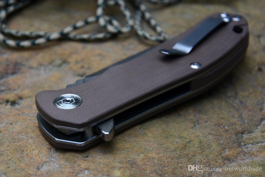 Nouveau CH 3504 G10 poignée couteau 2 couleurs D2 lame Céramique roulement à billes rondelle extérieure couteau EDC outil cadeau paquet
