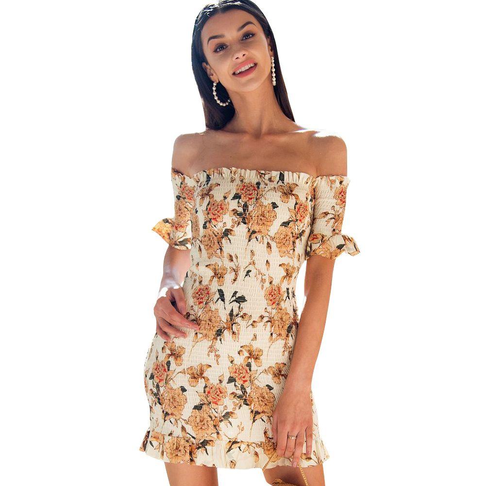 3de6bc0c9f761 2019 Sexy Women Short Shirred Dress Off Shoulder Ruffles Bandage Bodycon  Dress 2018 Summer New Mini Boho Beach Yellow Vestidos From Matilian, ...