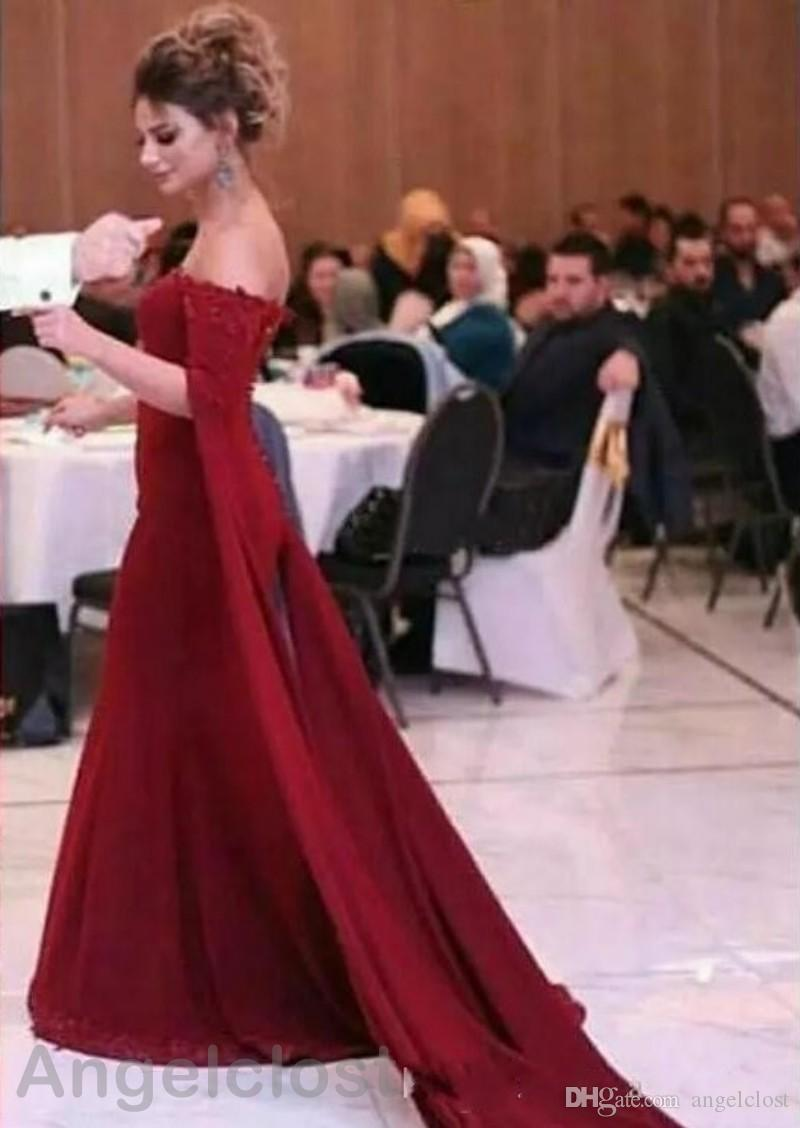 Темно-красные русалка вечерние платья 2019 с открытыми плечами с коротким рукавом длиной до пола, кружева аппликации Элегантные платья выпускного вечера на заказ арабский