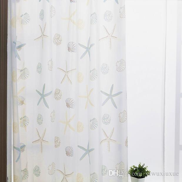 PEVA Bathroom Shower Curtains Waterproof Thickening Bath Curtains With  Hooks Starfish Pattern Home Decorations Bathroom Accessories