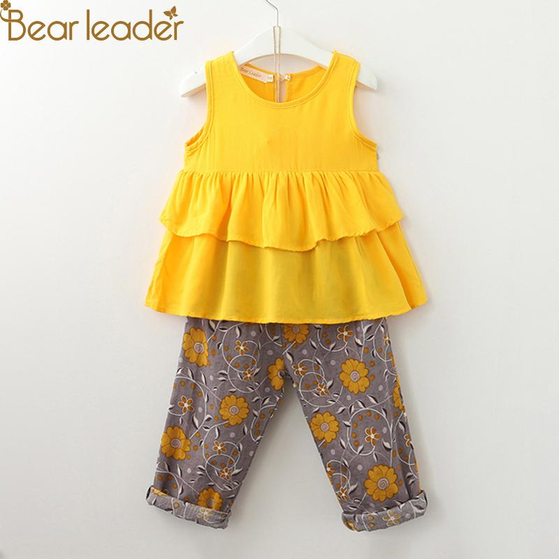 2d9dd716eb1 Bear Leader Girls Clothing Sets 2018 Summer Brand Girls Multi Layer Frill  Sleeveless Baby Shirt + Vintage Flower Foot For 3 7 Y Y1892808 UK 2019 From  ...