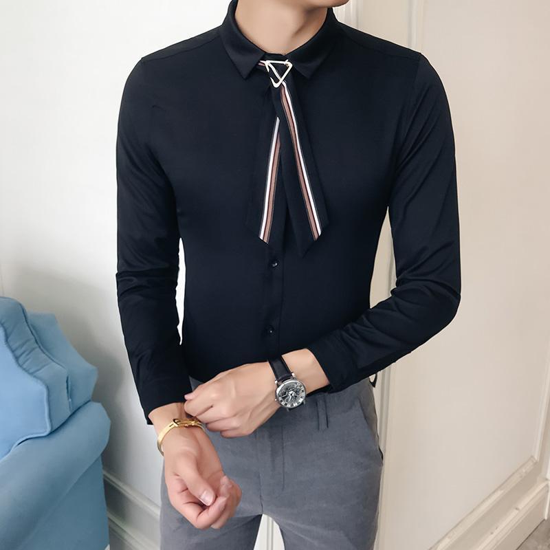 2019 Plus Size Men Shirt Brand New Slim Fit Tie Decor Dress Mens ...