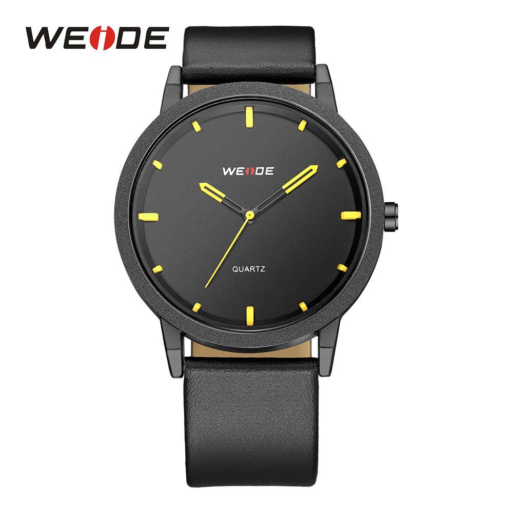 4593bf72f24 Compre Weide Homens Relógio De Quartzo Casual À Prova D  água Esporte  Relógios Pulseira De Couro Marca De Luxo Moda Relógios De Pulso Relógio  Relogio ...